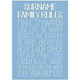 Mejor impresiones de fotos personalizable familia las reglas de la casa de la tipografía Póster Impresión, Azul, A2