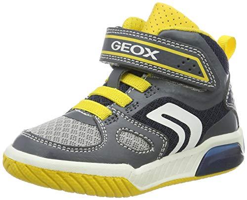 Geox Jungen J INEK BOY A Hohe Sneaker Grau (Grey/Yellow C0030) 31 EU - Geox-mesh-sneakers