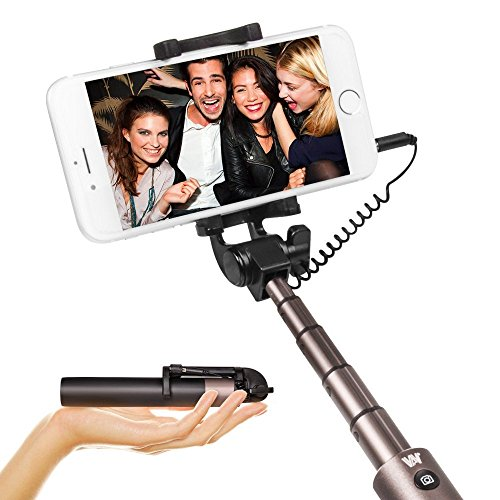LUXSURE Handy Selfie Stick Universal Selfie Stange Kabelgebundene Selfie für iPhone XS/XS max/xr/x/8/8/7/7 plus/6s Plus,Samsung Galaxy 9/s9/s9+/s8/Note 8/s7/s7 Edge, Stab Drehbar 270°für Smartphone