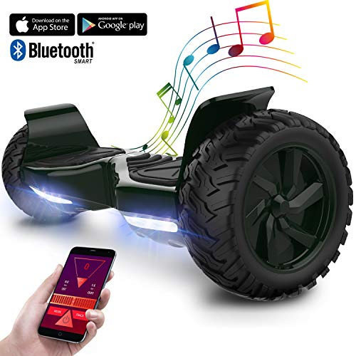 GeekMe Hoverboard elettrico fuoristrada Scooter auto bilanciamento con potente motore LED luci bluetooth APP per adulti e bambini. 8,5 pollici (Oro)