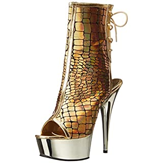 Pleaser Women's DEL1018HG/Gpu/Gch Boot, Gold Hologram Ostrich Polyurethane/Gold Chrome, 6