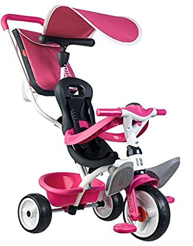 Smoby Toys- 741101- Tricycle Baby Balade 2, Tricycle Evolutif avec roues silencieuses, Dispositif roue libre, Rose