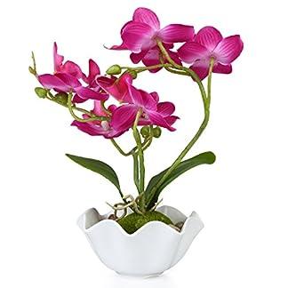 Decorativa Artificial seda flor orquídea Phalaenopsis con jarrón de color blanco