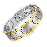 JFUME Herren Armband 18k Gold Magnete Energietherapie Männer Armband aus Edelstahl für Arthritis Schmerzlinderung 21.5cm