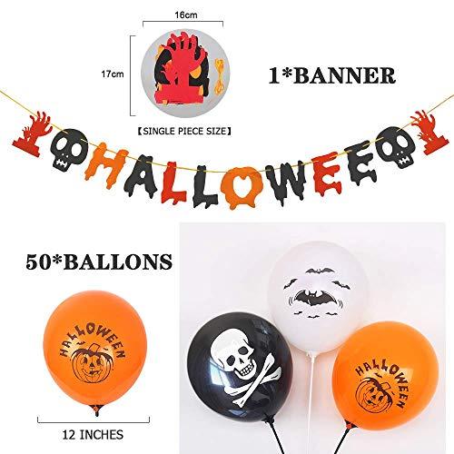 Caiery 50 pcs Halloween Dekoration Ballons Luftballons & 1pcs Halloween Girlande/Halloween Deko Set für geeignet-Grusel-Horror-Party-Deko - 2