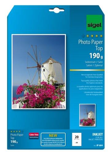 sigel-ip684-papier-photo-top-jet-dencre-satine-190-g-a4-20-feuilles-extra-blanc