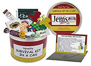 40th Birthday Survival Kit In A Can. Novelty Fun Gift - Humorous Happy 40th Present & Card All In One. Customise Your Can Colour. (Red/Yellow)