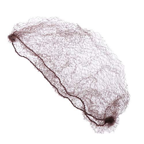 Healifty 100 Stücke Unsichtbare Haarnetz Knotennetz Dutt Netz Elastischer Rand Mesh für Ballett Reiten Tanz Eiskunstlauf 50 cm (Kaffee) (Haarnetze Tanz)