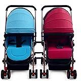 Twin Kinderwagen, Abnehmbare leichte Falten zweiten Kind Stoßdämpfer können Doppel-Kinderwagen sitzen,E