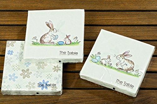 Set di 3 tovaglioli di carta a forma di coniglietto pasquale, decorazione da tavolo a 3 strati, motivo conigli, uova di pasqua, 20 pezzi