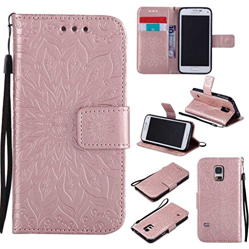 Price comparison product image Galaxy S5 Mini Case, KKEIKO® Galaxy S5 Mini Flip Leather Case [with Free Tempered Glass Screen Protector], Shockproof Bumper Cover and Premium Wallet Case for Samsung Galaxy S5 Mini (Pink #2)