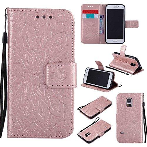 galaxy s5 mini gold BoxTii Galaxy S5 Mini Hülle [mit Frei Panzerglas Displayschutzfolie], Galaxy S5 Mini Schutzhülle mit Kartenfächern, Premium Lederhülle für Samsung Galaxy S5 Mini (#8 Rose Gold)