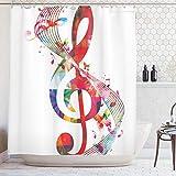 ABAKUHAUS Musica Tenda da Doccia, Note Musicali Ritmo Canzone Ornato con i Colori Vibranti Tema Fantasia, Repellente AcquaBatteri, 175 x 200 cm, Multicolore