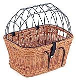 Tigana - Fahrradkorb aus Weide Natur mit Gitter und Kissen für Lenker 45 cm...