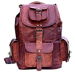 Handgefertigte Vintage Unisex aus reinem Leder Rucksack Bookbag Wanderrucksack   Reisen Outdoor Schultasche Daypack   Mit Kostenlosem Versand