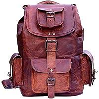 🎁 Handgefertigte Vintage Unisex aus reinem Leder Rucksack Bookbag Wanderrucksack | Reisen Outdoor Schultasche Daypack | Mit Kostenlosem Versand