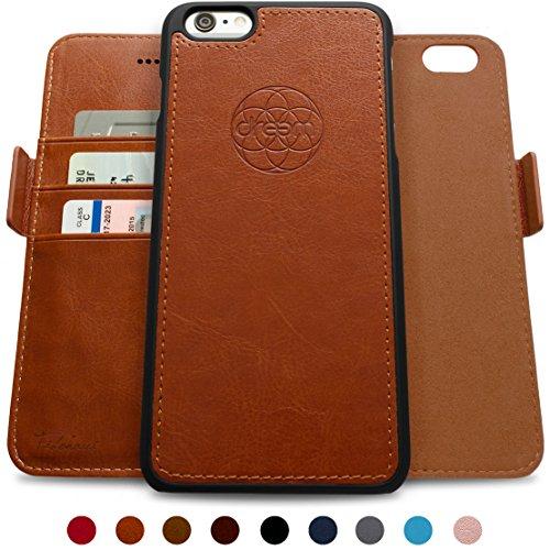 dreem Fibonacci Brieftasche & Schutz-Hülle für iPhone 6/6s, magnetisch herausnehmbares TPU Case, dünn bruchfest, 2 Standfunktionen, hochwertige synthetische Leder-Tasche, RFID Schutz - Karamell