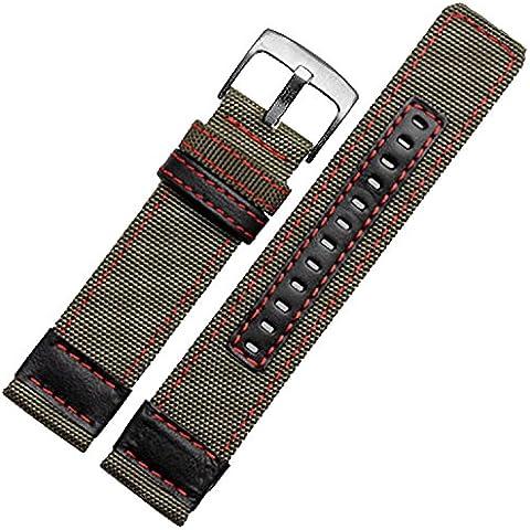 24mm Cinturino Nylon Tessuto Tela Militare Verde Rosso cuciture S.S fibbia