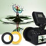 Ringblitz für Canon Nikon Panasonic Olympus Pentax SLR Kameras, Makro LED Ring Blitzlicht Ringblitzleuchte Ringblitz RF-550D Enthält 4 Diffusoren (klar, wärmend, blau, weiß), mit Adapterringen
