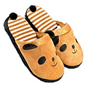 Panda Slippers Women Stripe Cute Indoor Plush Shoes (Color : Yellow, Size : UK4.5/5.5)