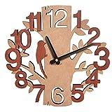 Giftgarden Horloge murale en bois avec décor arbres et des oiseaux pour la maison