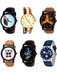 NIKOLA New 3D Design Mahadev Beard Style Black Blue And Brown Color 6 Watch Combo (B22-B50-B16-B53-B23-B56) For...