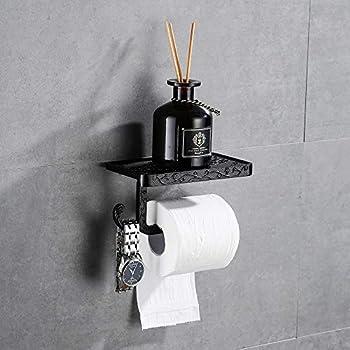 noir mat,... Sayayo Papier Hygiénique Porte-rouleau avec étagère en acier inoxydable