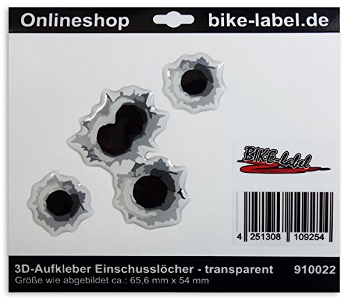 Aufkleber 3D 910022 Bike-label Einschusslöcher Deko -