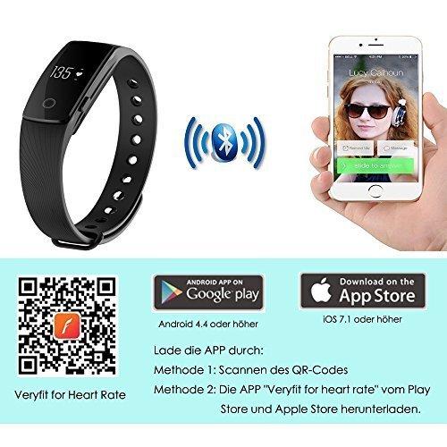 AsiaLONG Fitness Armband mit Pulsmesser – Puls Armband Schrittzähler Fitness Tracker Aktivitätstracker mit Schlafanalyse, Kalorienzähler, Vibrationswecker Anruf SMS Whatsapp Vibration für iOS und Android Handy (Upgrade) - 7