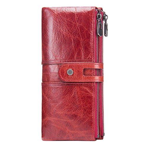 (Contacts Frauen-echtes Leder-ID-Karten-Münzen-Telefon-Halter-Reißverschluss-Kupplungs-Geldbeutel-Geldbörse (Rot))