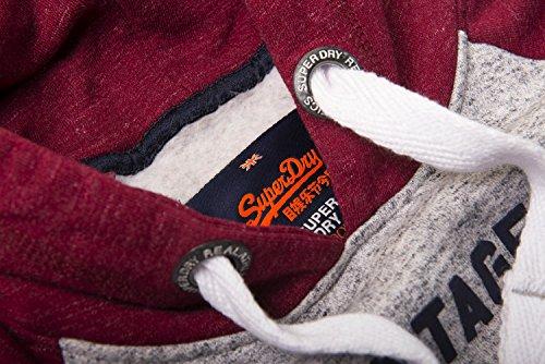 Superdry Herren Kapuzenpullover Premium Goods Raglan Chrome Grey Grit/Rust Red Grit