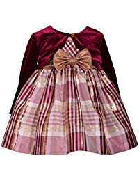 1a66da48d0d Baby Girls Sleeveless Plaid Taffeta Burgundy Dress with Long Sleeved  Cardigan (3-6 Months