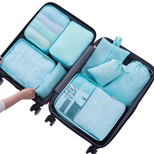 Belsmi Reise Kleidertaschen Set 8-teilig Reisetasche in Koffer Reisegepäck Organizer Kompression Taschen Kofferorganizer Mit Schuhbeutel (Blau) -