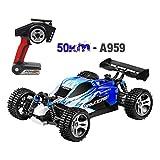 A959 Sportwagen Spielzeug,Mamum Wltoys A959 Verbesserte 540 Bürstenmotor High Speed 50 km/std 1:18 4D 2,4G RC Auto (Blau)