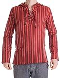 Vishes – Alternative Bekleidung – Gestreiftes Fischerhemd Zum Schnüren, aus handgewebter Baumwolle, mit Kapuze Dunkelrot M