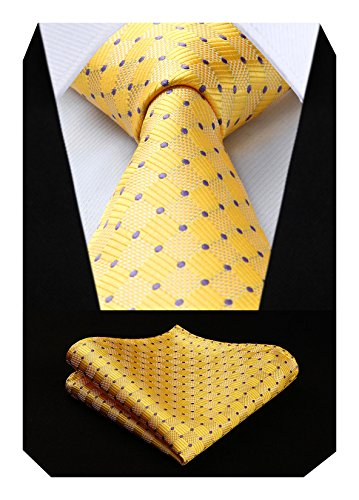 HISDERN Check Wedding Tie Handke...