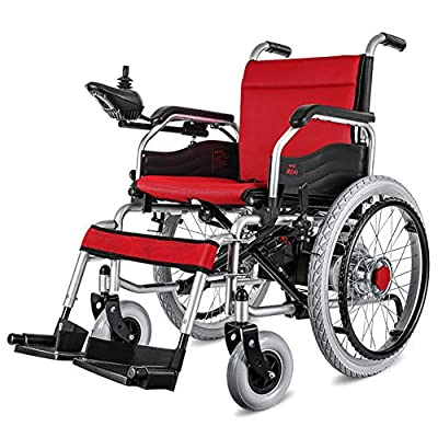 RDJM Lightweight Dual Function Foldable Power Wheelchair (With 20A lithium battery), Drive With Electric Power Or Use As Manual Wheelchair