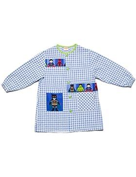 Dyneke Bata escolar botón azul Super Heroes (personalización opcional gratuita con nombre bordado)