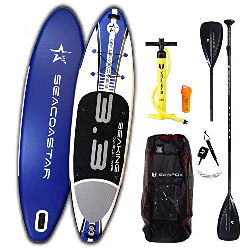Double-Layer SEAKING Carbon-Set (325x80x15) SUP Board Paddelboard Standup Paddleboard blau (Board,Bag,Pumpe,Carbon SUP-/Kayak Paddle+Leash)