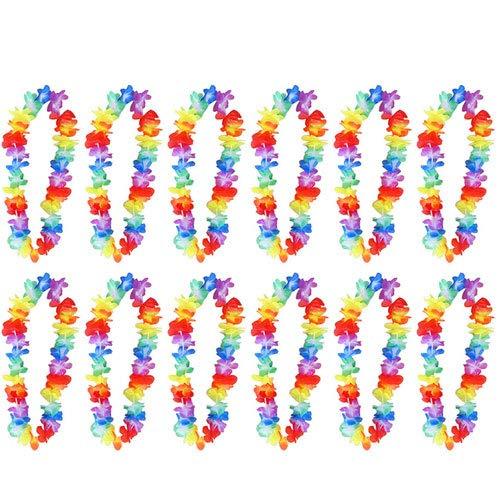 Sohapy 12 Stück Multicolor Tropische Hawaiian Luau Blume Hawaiian Rüschen Blume Lei Luau Blumen Leis für Kleid, Party Strand Nacht Fasching Party Halskette Mehrfarbig