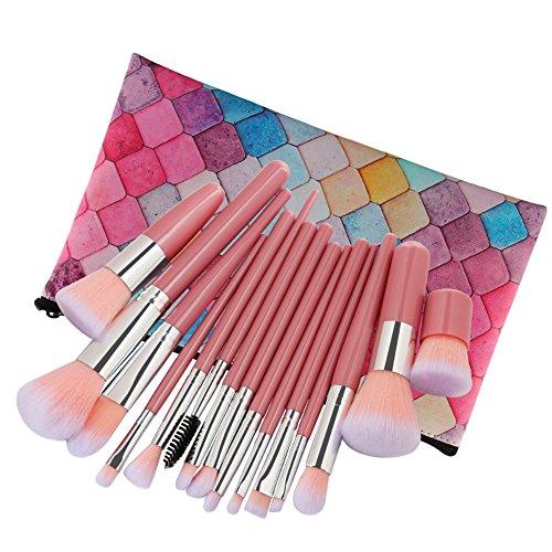 allbesta 15 pièces pinceaux cosmétique de maquillage Jeu d'outils Foundation Contour Blending erröten Ombre à paupières Makeup Brush Sac Set