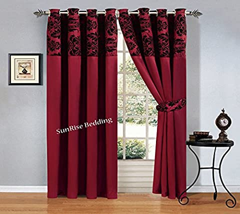 Lisa Flock Ring Top Curtains Ready made Eyelet Tape Pair Curtains Fully Lined Ring Top Curtains + 2 Tie Backs (2 x ( 90