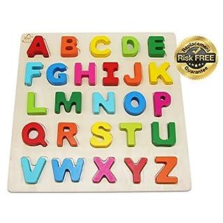 EasY ToY Holz Puzzle Grosse Bunte Buchstaben Kinder Spielzeug ab 2 3 Jahre; Holzspielzeug Für Spielerisches Lernen Des ABC Alphabet, Motorik; Spiele Geschenk für lebhafte Mädchen Jungen; Pädagogisches Steckspiel für Spiel Spass