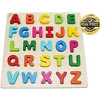 Rompecabezas de madera para niños Juguetes para niños de 2 a 3 años Niños con grandes letras de colores brillantes; ABC Girl, Boy Learning Resources; Nombre educativo, rompecabezas de la forma Juguetes de aprendizaje preescolar para los niños pequeños