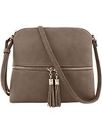 d55ace2b894 Rosennie Womens Fashion Cross Body Bags,Ladies Pure Colour Wild Shoulder  Bag Leather Messenger Bags
