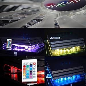 """VinCorp USB Design Kühler """" Multicolor Controller RGB """" LED 19cm controler Lüfter & Ständer Stand für PS4 Playstation 4 / 3 sowie Pro und Slim Variante"""
