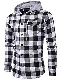 Tomatoa-herren hemd Kariertes Hemd Langarm Freizeithemd Slim Fit Holzfäller Hemden  Hoodie Sweatshirt für Freizeit f892ede183