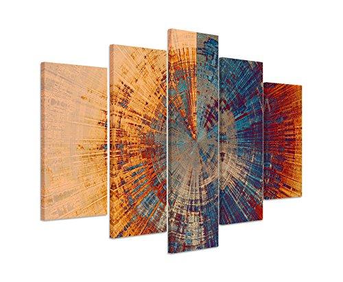 Paul Sinus Art Bilderskulptur 5 Teilig Breite 150cm x Höhe 100cm Vintage Gemälde Eines Baum Querschnitts auf Leinwand Exklusives Wandbild Moderne Fotografie für Ihre Wand in Vielen Größen -