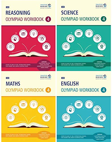 Reasoning, Maths, Science and English Olympiad Workbook Combo - Class 4