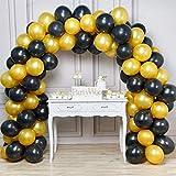 PartyWoo Palloncini Neri e Oro 100 Pezzi 12 Pollici Palloncini Neri Palloncini Oro per Gatsby Party, Hollywood Party, Piatti Neri, Wine Theme Compleanno 18 Anni, 18 Anni Decorazioni, Decorazione Oro
